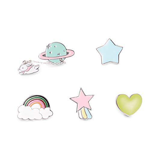 64aafc656282 Amazon.com: TAO SHI Cute Cartoon Enamel Lapel Pin Set - Fashion ...