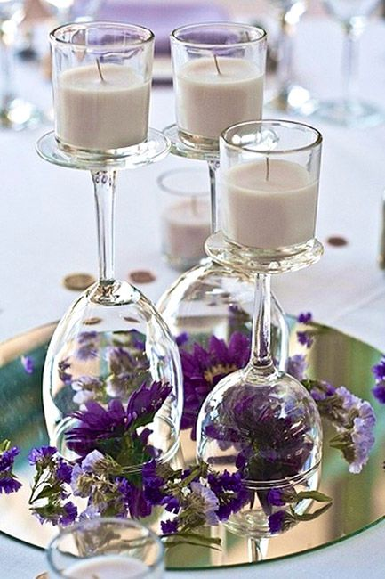 DIY Easy Wine Glass Centerpiece ,