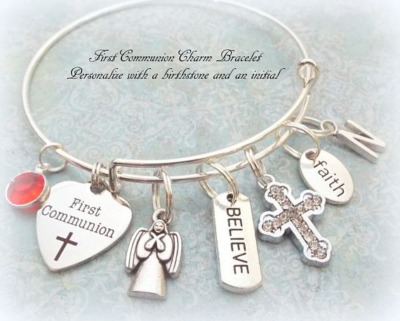 First Communion Bangle Charm Bracelet - commemorate that special day for someone  This personalized First Communion bangle bracelet was created and hand crafted with great care and pride in our craft. All of our items, including First Communion bracelet, are special handmade creations that are original Hope is Hip designs. Our jewelry is not machine-made, reasonable variations are to be expected and contribute to the uniqueness and hand finished quality of each piece. We use only double jump…