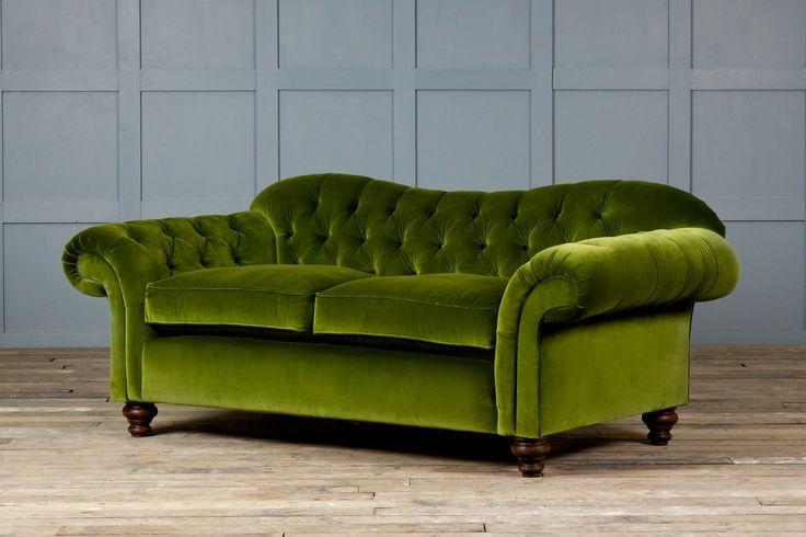 Attractive Green Velvet Sofa With Armchairs For Living Room: Red Velvet Couches And Green Velvet Sofa