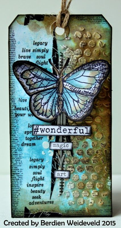 Scrap from Bemmel: # Wonderful using Tim Holtz, Ranger, Sizzix and Stamper's Anonymous products; Feb 2015