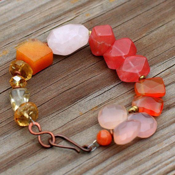 beaded gemstone bracelet, pink and orange, rose quartz bracelet, carnelian jewelry, healing bracelet