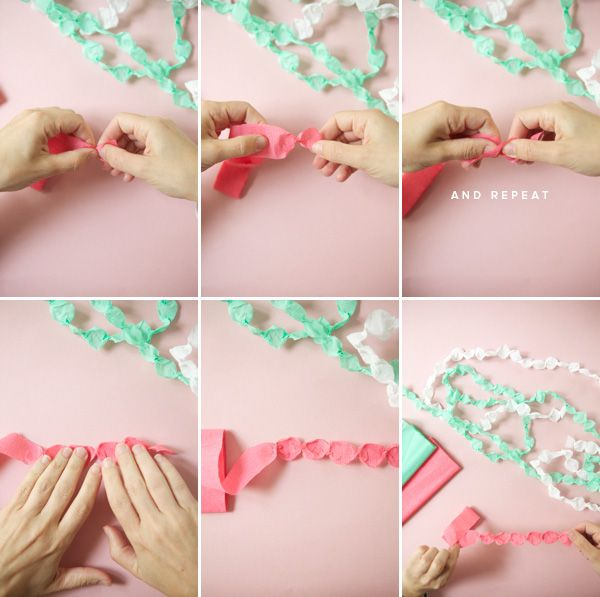 Cute & simple crepe paper garland technique from Oh Happy Day.
