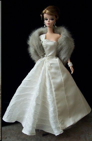 fashion doll white dress silkstone barbie mode abendmode