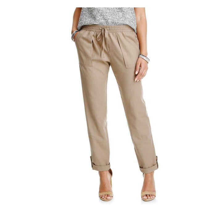 Linen Blend Roll Cuff Pant in Tan from Joe Fresh 24.00