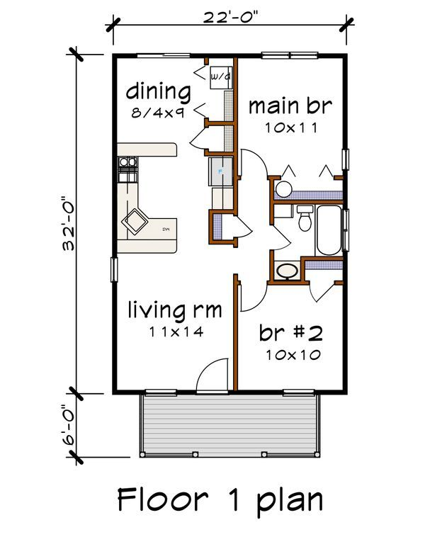 Cottage Style House Plan 2 Beds 1 Baths 704 Sq Ft Plan 79 102 In 2020 Cottage Style House Plans Micro House Plans Small House Floor Plans