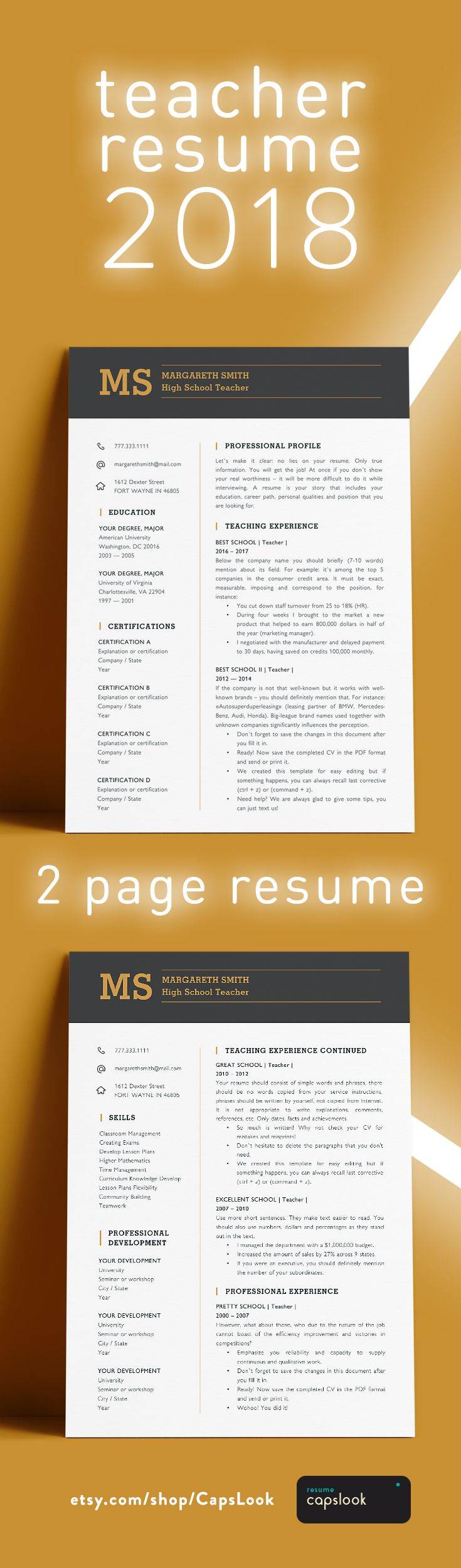 Resume template for teacher 2018.  2 page resume. Instant download and easy to use. Our mission  - Creating resumes that can make the way to a new job shorter and more creative Other teacher resumes → http://etsy.me/2nH74UY – Teacher Resume Template – Elementary, principal.