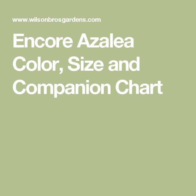 Encore Azalea Color, Size and Companion Chart