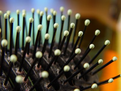 How to Clean Hair Brushes in Vinegar- The high concentration of acid in vinegar can help remove the buildup of hairspray, gel, natural oils and dead skin from the bristles of hairbrushes.  Combine 2 tsp. of shampoo and 1/4 cup of distilled white vinegar in a clean sink or bucket filled with warm water. Submerge the brush in the solution allow it to soak for 10 to 15 minutes.