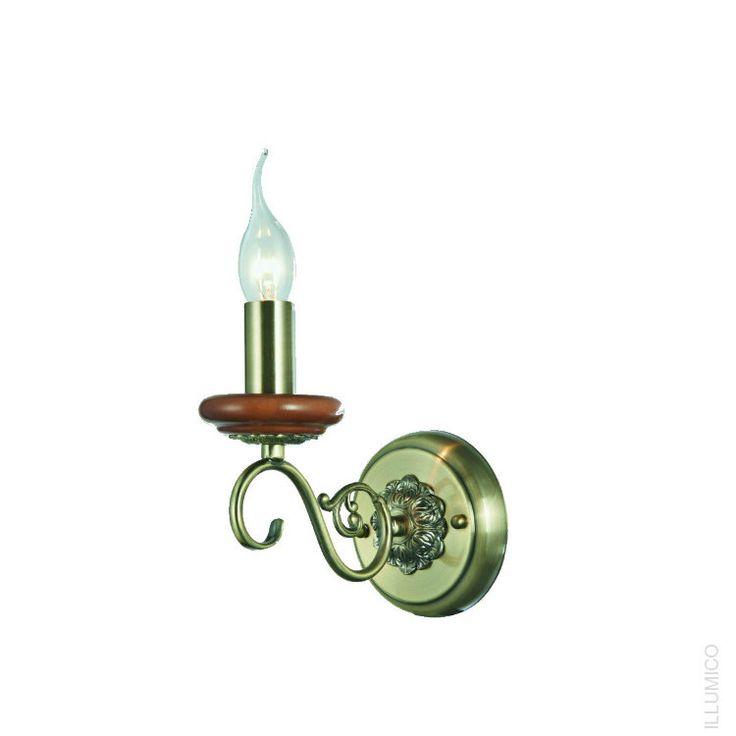Небольшой настенный светильник Illumico Lazio с деревянными элементами. IL8498-1WA-51 AB http://illumico-shop.ru/bra/nastennyy-svetilnik-illumico-lazio-1wa-ab/