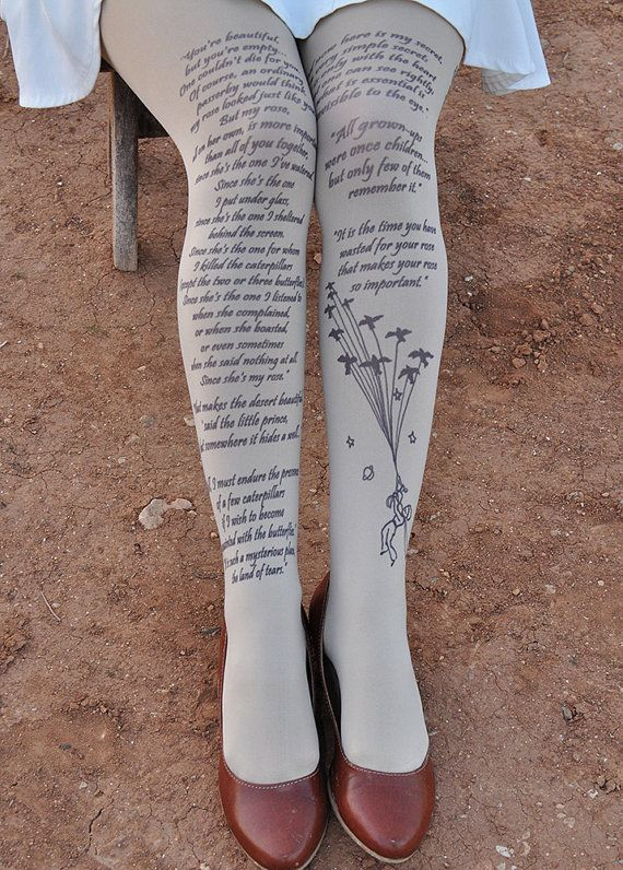 Clothing The LITTLE PRINCE Tights Quotes size S / M by TightsShop