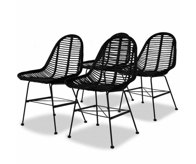 Tres Elegant Ce Lot De 4 Chaises Retro En Rotin Naturel Noir Fait
