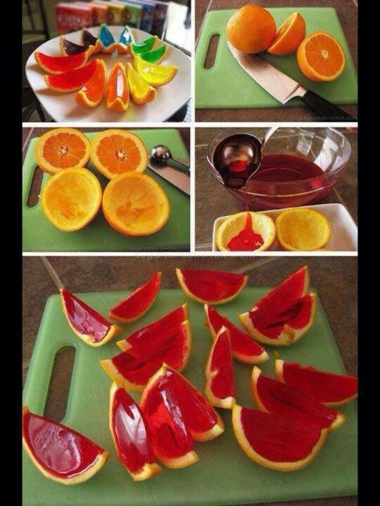 DIY! Simple,you just cut the oranges and get the oranges out then you get colors of jellos onto the oranges! Yummy and enjoys it! :)