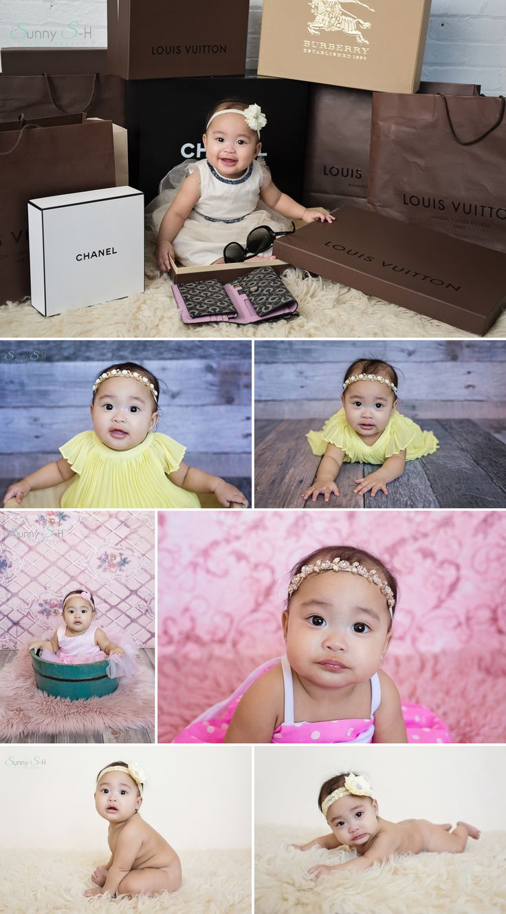 7 month old Caia and her studio sitting stage photo shoot.  Sunny S-H Photography