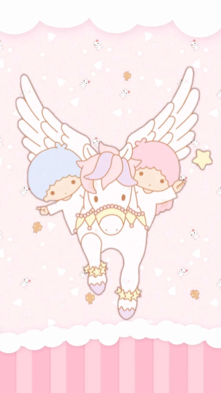 Twins Riding A Unicorn Kawaii
