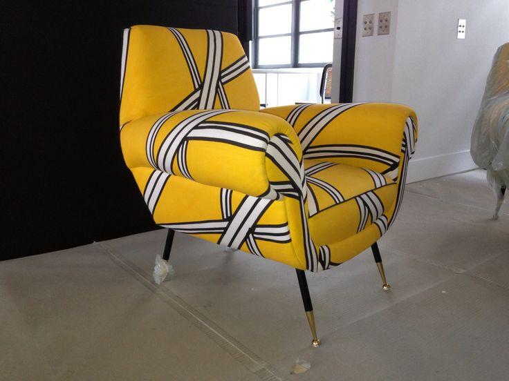 Vintage Armchair design Tria Yellow
