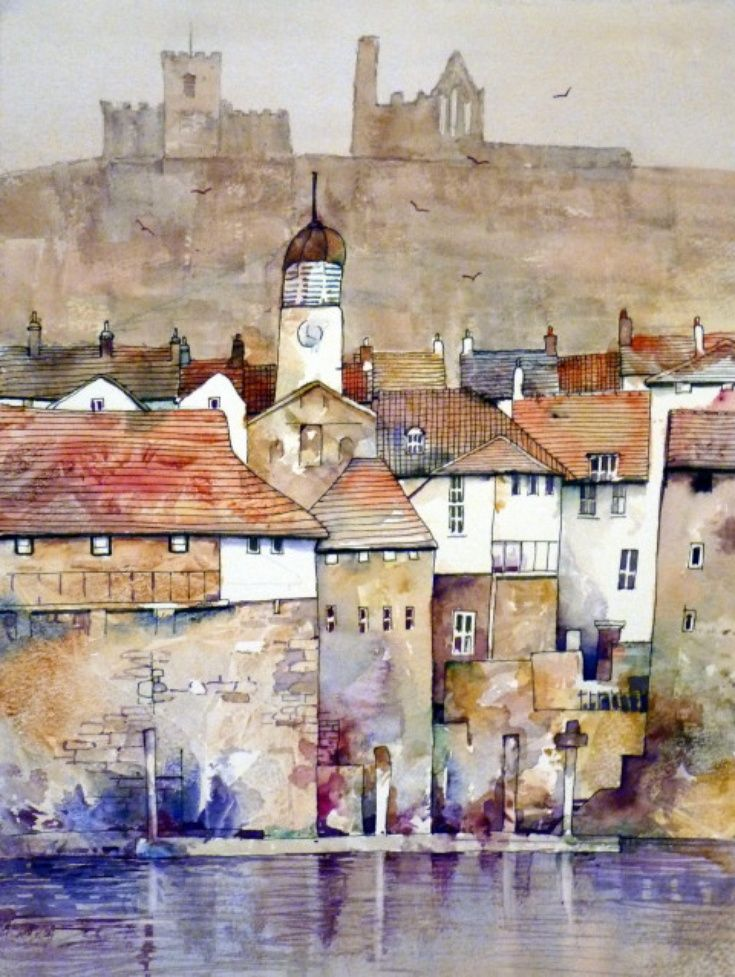 ARTFINDER: Whitby Town Hall by Malcolm Coils - Watercolour of the east bank of the River Esk on the north coast of Yorkshire. Sold with double mount- will fit standard 20 x 16 inch frame.