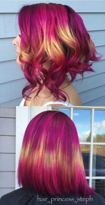 Magenta pink yellow dyed hair color inspiration