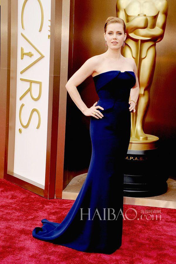 2017 Oscars Strapless Mermaid Evening Dress Amy Adam Satin Royal Blue 86th Academy Awards Red Carpet Celebrity Dress