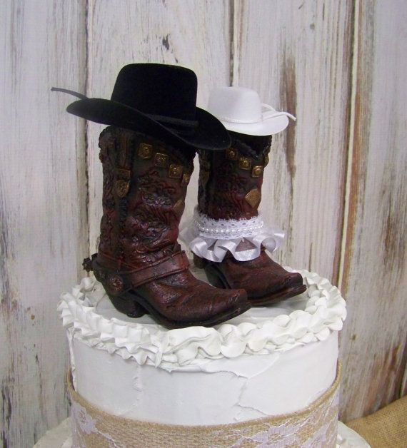 Larger Boot Cake Topper These Are So Unique Rustic His And Her Western Cowboy Boots Wedding Barn NEW
