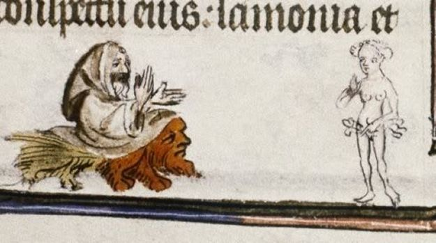 Man riding a head toward a naked woman | Community Post: 20 Bizarre Examples Of Medieval Marginalia