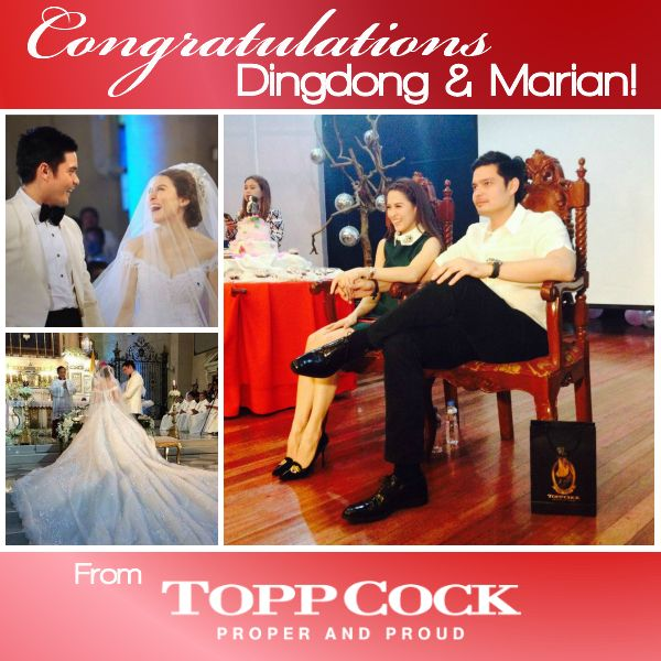 Showbiz royalty Dingdong Dantes and Marian Rivera tie the knot on Tuesday afternoon, December 30, at Immaculate Concepcion Cathedral in Cubao, Quezon City. Congratulations and best wishes From ToppCock Philippines!