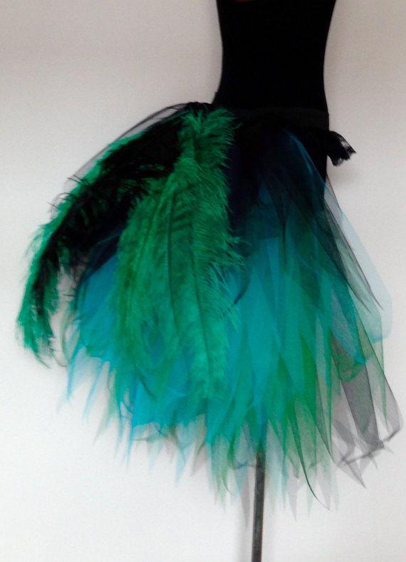 Schwarz grün türkis Blauer Pfau Burlesque Tutu von thetutustoreuk