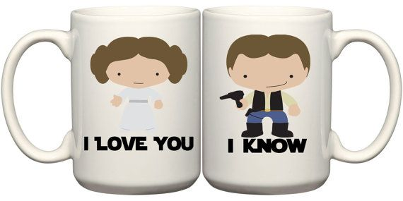 Set of Star Wars Mugs Princess Leia & Han Solo :: I love you. I know.