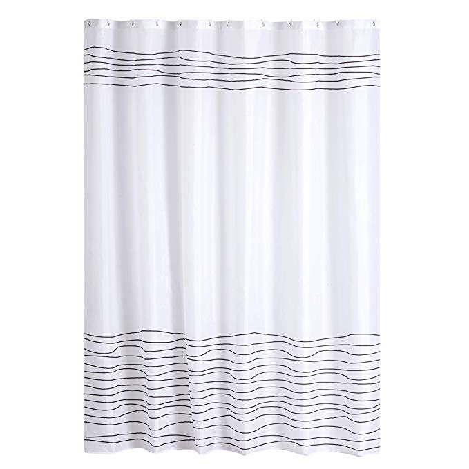 Amazonsmile Buzio Line Pattern Shower Curtain With 12 Curtain Hooks For Bathroom Waterproof 72 X Patterned Shower Curtain Shower Curtain Basic Shower Curtain