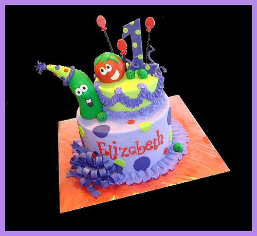 Veggie Tales cake - A would freak out over this!!