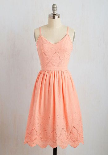 Courteous Curtsy Dress in Peach - Orange, Solid, Casual, Sundress, Pastel, A-line, Sleeveless, Spring, Woven, Better, Long, Coral, Eyelet