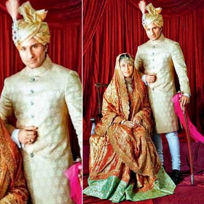 The Nawab, with his begum, can be seen posing for the traditional post-wedding photograph. Saif can be seen decked in all his royal essentials, as is Kareena. - bollywoodshaadis.com