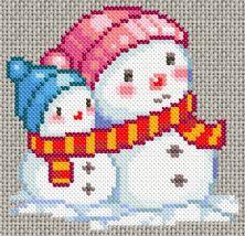17/02/11 : grille de point de croix gratuite - Bonhommes de neiges - un jour, une grille