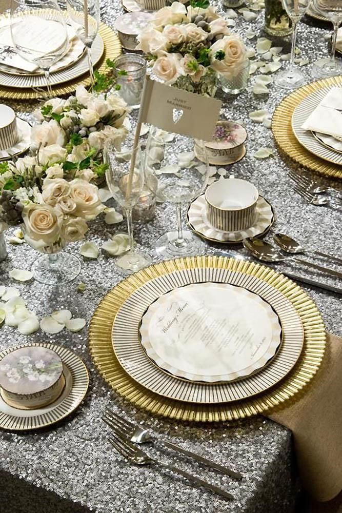 30 Silver Wedding Decor Ideas Wedding Forward Gold Wedding Decorations Wedding Table Runners Gold Silver Wedding Decorations