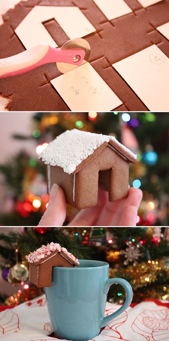 Mini gingerbread houses that perch on the rim of a mug