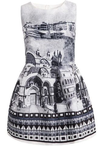 #MYTRENDTWOWARDROBE Women's Grey Sleeveless Vintage Print Jacquard Dress adding some Dadaist to the mix
