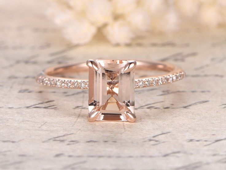 7x9mm Emerald Cut Morganite Ring,14K Rose Gold Morganite Engagement Ring,Emerald Cut Engagement Ring,Diamond Pave Ring,Claw Prongs,Solitaire by kilarjewelry on Etsy https://www.etsy.com/listing/276978304/7x9mm-emerald-cut-morganite-ring14k-rose