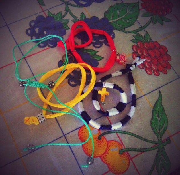 Lycra handmade bracelets and macrame necklace