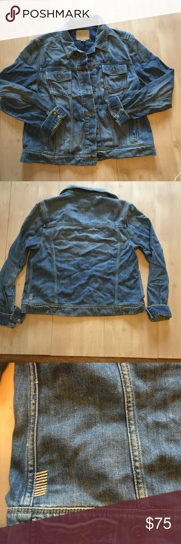Paige jean jacket Sz L Paige denim jacket Sz L amazingly soft and stretchy feels like you are wearing a shirt but the weight and warmth of a jean jacket! No restricted arm movement that you get from jean jackets. Will iron😊 Paige Jeans Jackets & Coats Jean Jackets