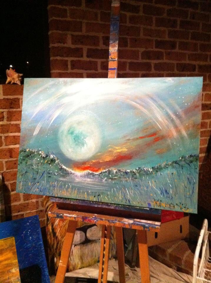 """""""New Day Dawning"""". Painted in Rouse House Worship, Sydney, 2013. #wendymanzo #propheticart #worshipart #liveart #speedpainting"""