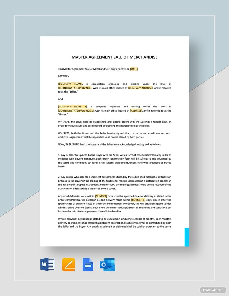 Master Agreement Sale Of Merchandise Template Free Pdf Word Apple Pages Google Docs Sales Template Templates Word Doc