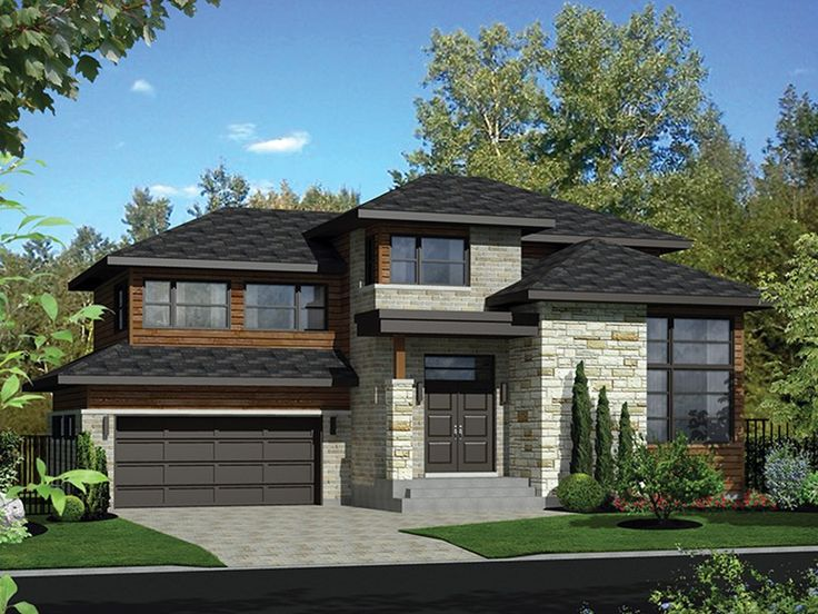 This large ultra modern two-story plan has a brick and stone facing with horizontal wooden siding and large windows making it a standout home in any neighborhood. The ground floor includes an entrance hall that opens to a living room with a 12-foot ceilin