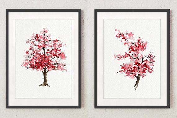 Fête des mères, ensemble de 2 fleurs de cerisier, art japonais, décor à la maison rose, arbre pour aquarelle, cadeau   – Products