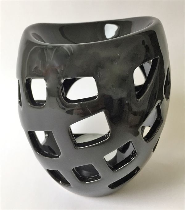 Duftlampe - Sort - Glaseret keramik. Ca. 12 cm høj.
