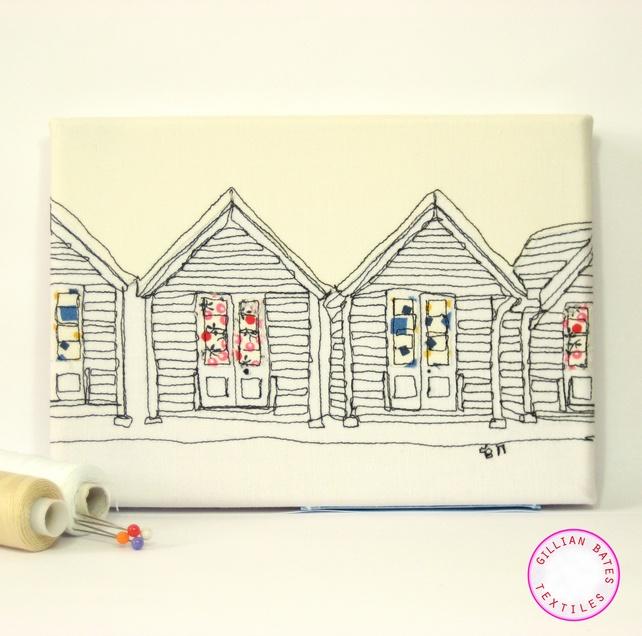 beach hut textile art by Gillian Bates