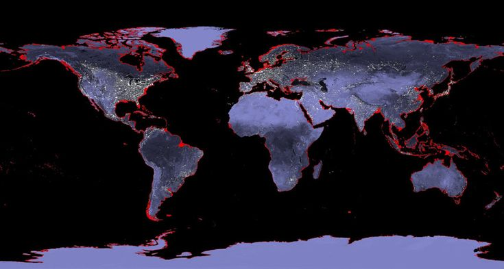 HISTORIC HEAT Sea levels were 6 to 9 meters higher than present-day levels the last time Earth's climate was this warm, new research suggests. Similar sea level rise today would submerge many coastal areas (red). ~~ John C. Kostelnick (data), GSFC/NASA (visualization)