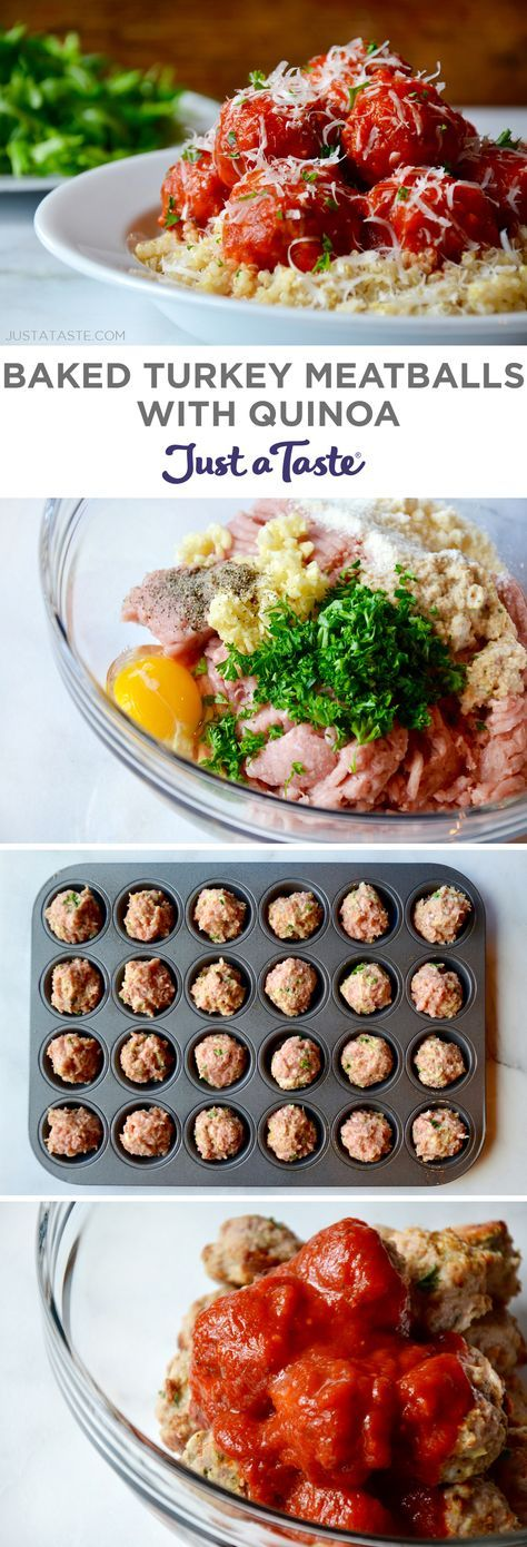 Baked Turkey Meatballs with Quinoa recipe from justataste.com #recipe #healthy