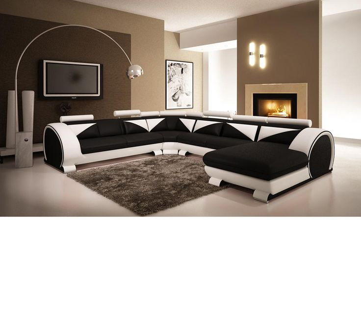 Modern Black and White Leather Sectional Sofa with Headrests_p_19368 - Leather Sofa Set On Sale, sofa