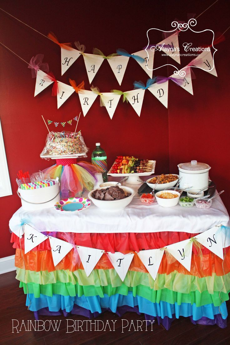 Rainbow Dance Party Rainbow Birthday Party Food Table Decorations Games many more ideas