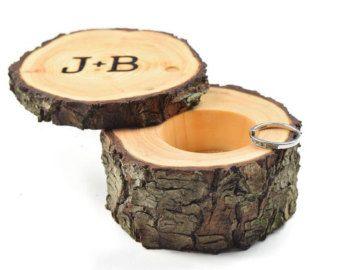 Oak Ring Box Ring Bearer Box Engagement Ring Box by Trees2Art